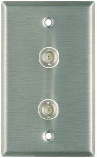 Plateworks Single-Gang Stainless Steel Wall Plate with 2x BNC Feed Thru Connectors