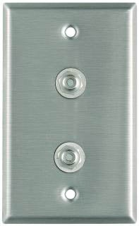 Plateworks Single-Gang Stainless Steel Wall Plate with 2x RCA Jacks
