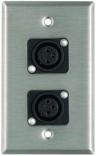 Plateworks Single-Gang Stainless Steel Wall Plate with 2x XLR-F Plastic Connectors
