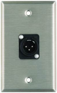 Plateworks Single-Gang Stainless Steel Wall Plate with 1x XLR-M Plastic Connector