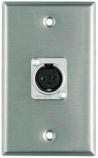 Plateworks Single-Gang Stainless Steel Wall Plate with 1x Latchless XLR-F Connector