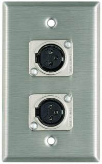 Plateworks Single-Gang Stainless Steel Wall Plate with 2x Latchless XLR-F Connectors