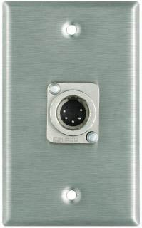 Plateworks Single-Gang Stainless Steel Wall Plate with 1x 5-Pin XLR-M Connector for DMX