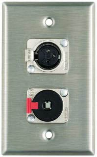 "Plateworks Single-Gang Stainless Steel Wall Plate with 1x XLR-F, 1x Locking 1/4"" TRS"