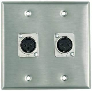 Plateworks Dual-Gang Stainless Steel Wall Plate with 2x Latchless XLR-F Jacks