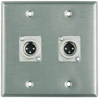 Plateworks Dual-Gang Stainless Steel Wall Plate with 2x XLR-M Connectors