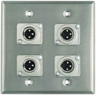 Plateworks Dual-Gang Stainless Steel Wall Plate with 4x XLR-M Connectors