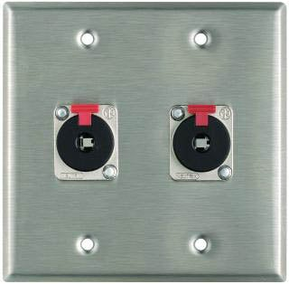 "Plateworks Dual-Gang Stainless Steel Wall Plate with 2x Locking 1/4"" TRS Jacks"