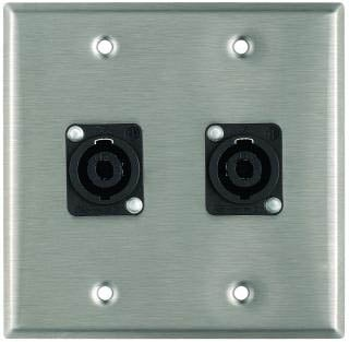 Plateworks Dual-Gang Stainless Steel Wall Plate with 2x NL4MP Speakon Connectors