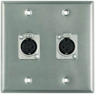 Plateworks Dual-Gang Stainless Steel Wall Plate with 2x Latching XLR-F Connectors