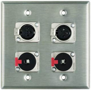 "Plateworks Dual-Gang Stainless Steel Wall Plate with 2x XLR-F, 2x Locking 1/4"" TRS Connectors"