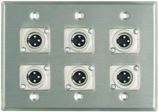 Plateworks Triple-Gang Stainless Steel Wall Plate with 6x 3-Conductor XLR-M Connectors