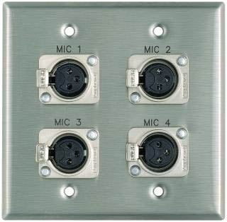 "Plateworks Dual-Gang Stainless Steel Engraved Wall Plate with 4x Latching XLR-Fs: ""Mic 1"", "" Mic 2"", ""Mic 3"", ""Mic 4"""