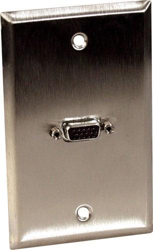 Single Female VGA Wall Plate, Black