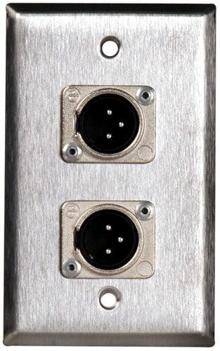 1 Gang Stainless Steel Plate 2 Neutrik 3-Pin XLR