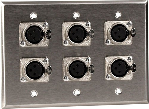 3 Gang Wall Plate with 6 XLR-F Connectors