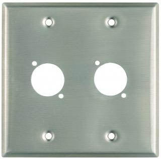 "Plateworks Dual-Gang Stainless Steel Wall Plate with 2x ""D-Series"" Punch Outs"