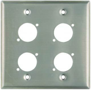 "Plateworks Dual-Gang Stainless Steel Wall Plate with 4x ""D-Series"" Punch Outs"