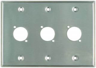 "Plateworks Triple-Gang Stainless Steel Wall Plate with 3x ""D-Series"" Punch Outs"