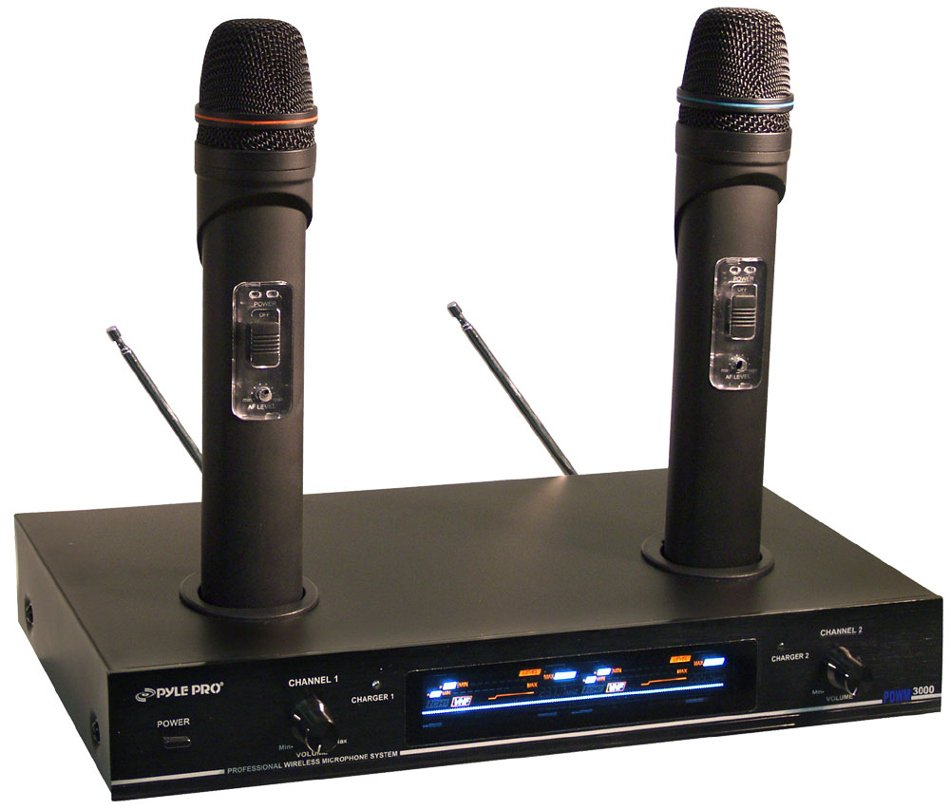 Dual VHF Wireless Rechargeable Handheld Microphone System
