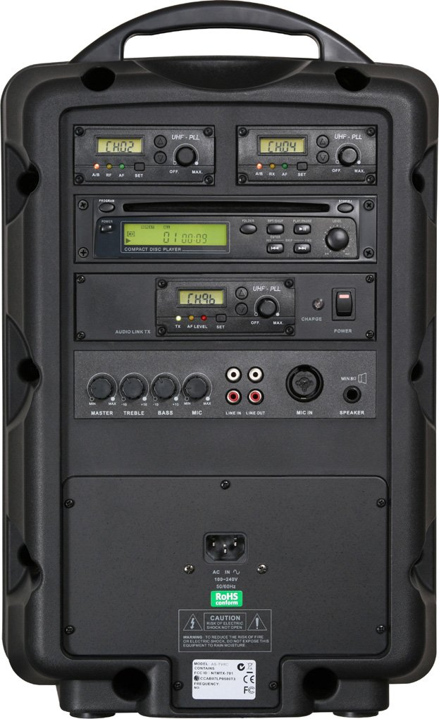 Traveler 8 PA System (with Wireless Microphone Transmitter, Receiver, CD Player, Audio Link Transmitter)