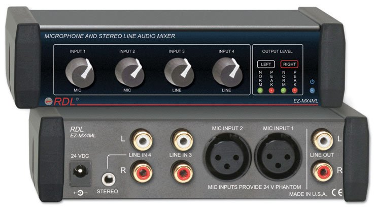 Microphone and Stereo Line Mixer 4x1