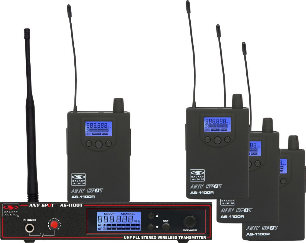 Band Pack Wireless In-Ear Monitor System with (1) Transmitter, (4) Receivers and (4) Earbuds