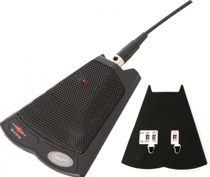Push-To-Talk Boundary Microphone (with On/Off & Filter Switches, Black)