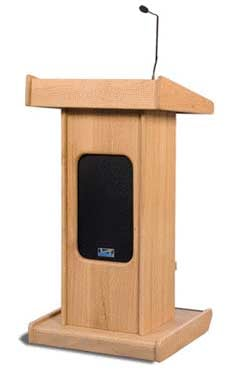 Admiral Portable Floor Lectern w/Front Speaker Grill, Microphone & Gooseneck