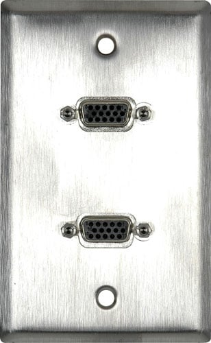 1G Brown Lexan Wall Plate with 2 VGA HD 15-Pin Female Barrels