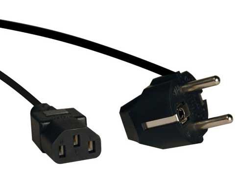 6' AC Power Cord, Schuko CEE7/7 to IEC-320-C13