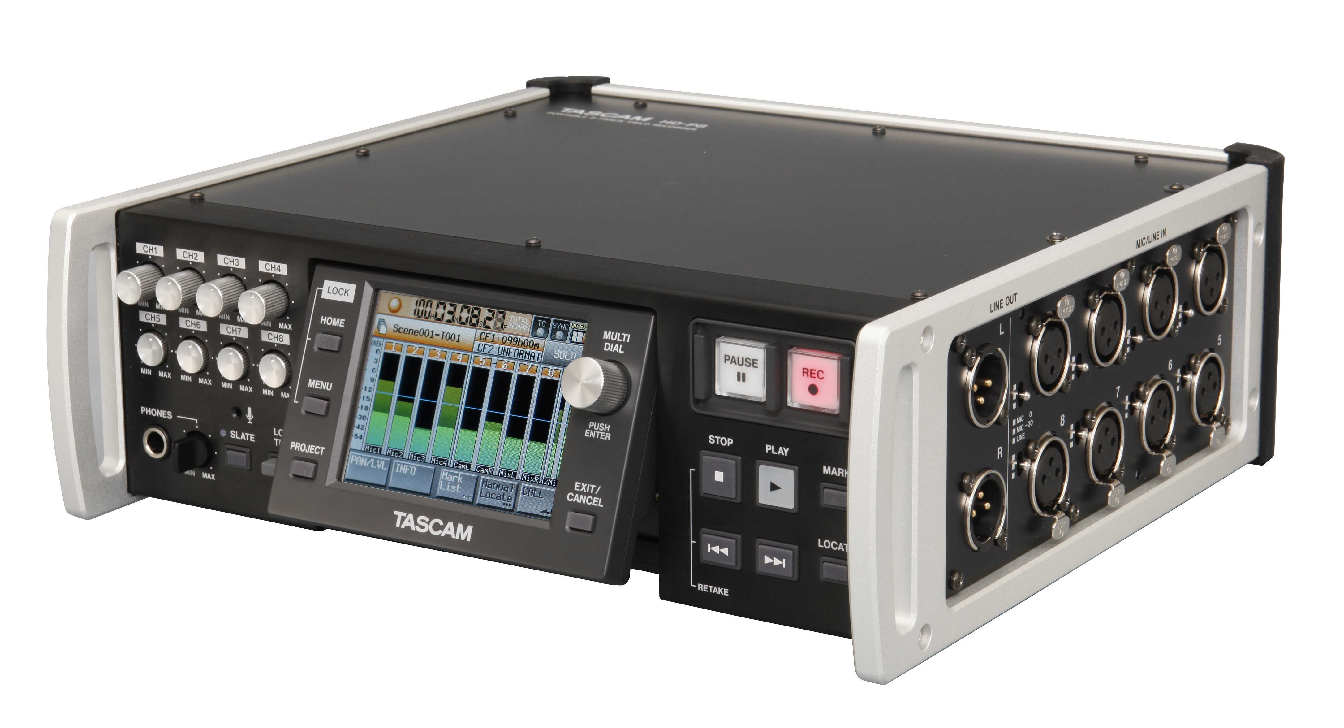 High-Resolution 8-Track Field Recorder with Dual Compact Flash Card Slots and Time Code