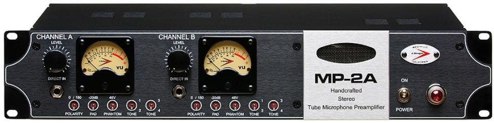 A-Designs MP-2A Stereo Tube Microphone Preamp with DI & Pad MP2A