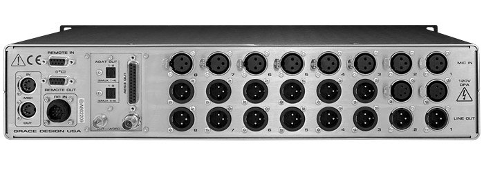 Remote Controlled mic preamplifier, 8-channel, w/optional A/D converter module available