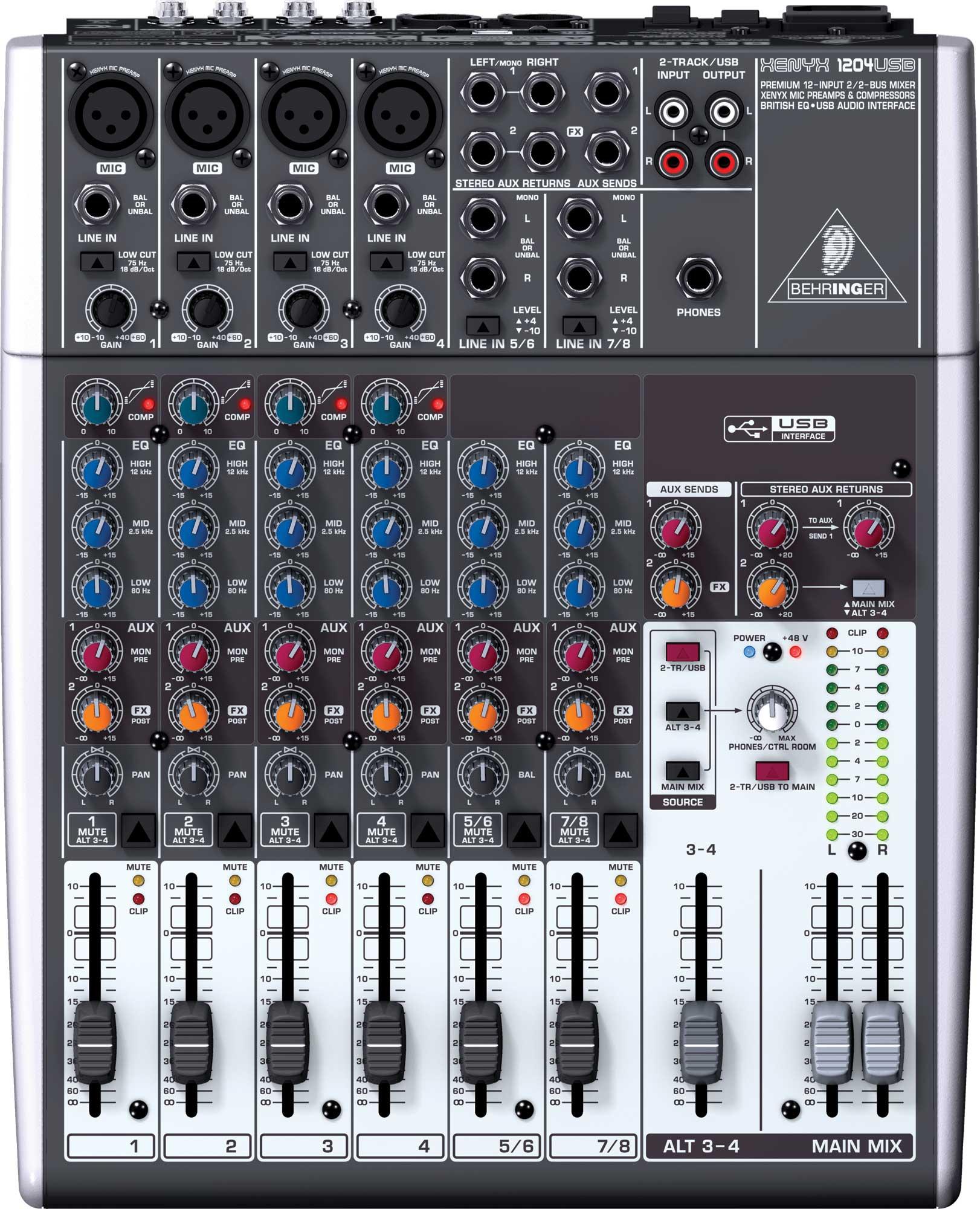 Mixer, 12 Input, 2/2 Bus, USB, energyXT2.5 Software