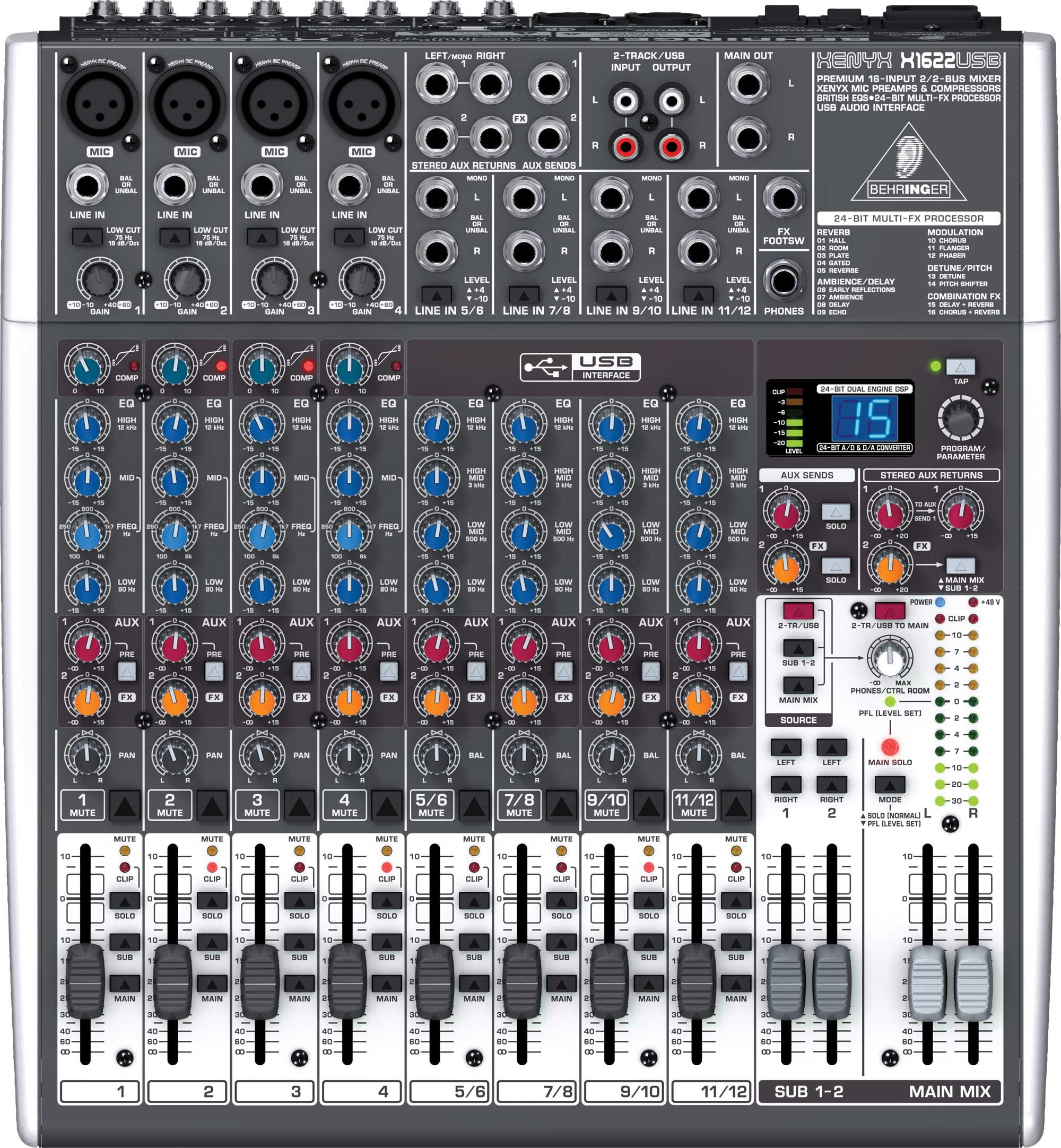Behringer XENYX X1622USB 16 Input 2/2 Bus Mixer with USB, energyXT2.5 Software, 24-Bit Multi-FX Processor XENYX-X1622USB