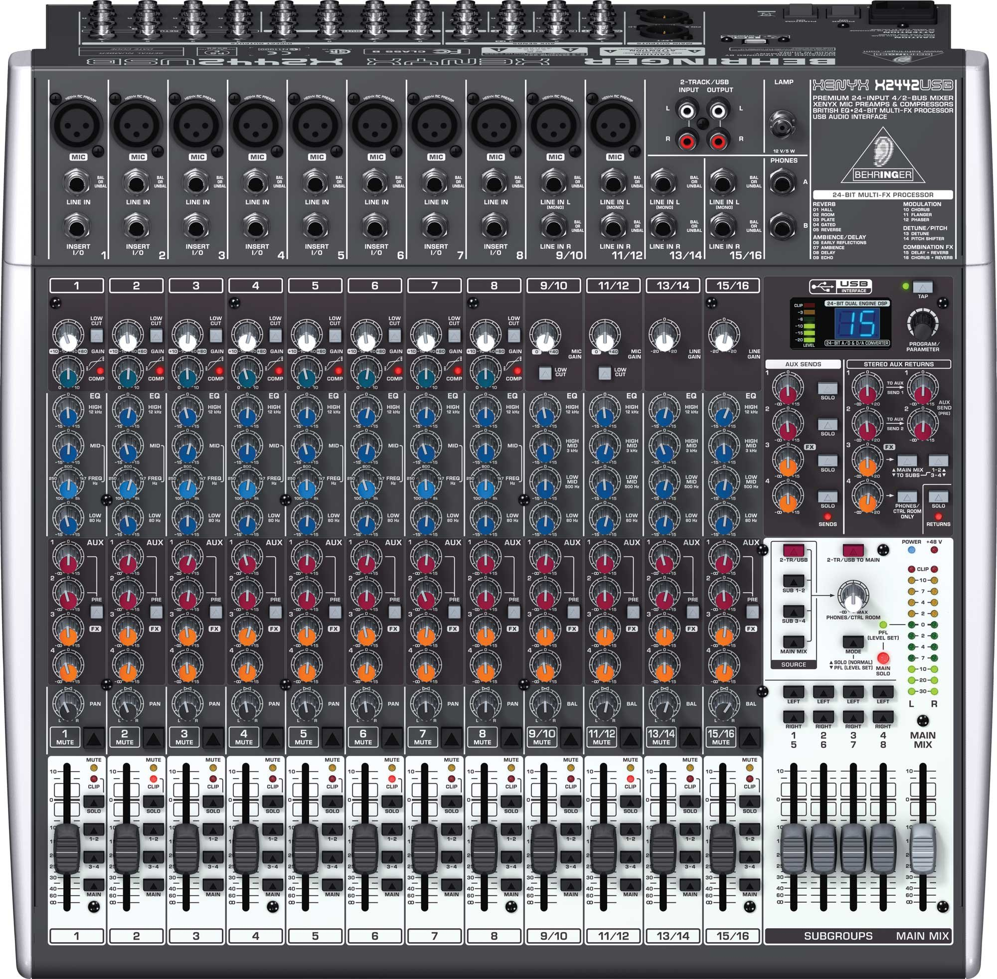 Mixer, 24 Input, 4/2 Bus, USB, energyXT2.5 Software, 24-bit Multi-FX Processor