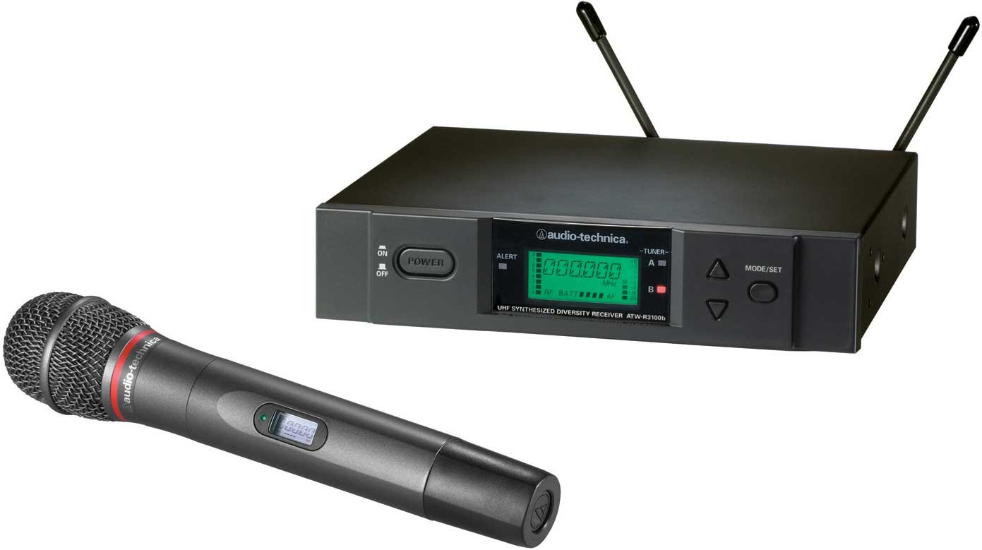 Wireless UHF Handheld Microphone System with ATW-T341b Handheld Cardioid Dynamic Microphone/Transmitter, Frequency-Agile, True Diversity, TV16-20