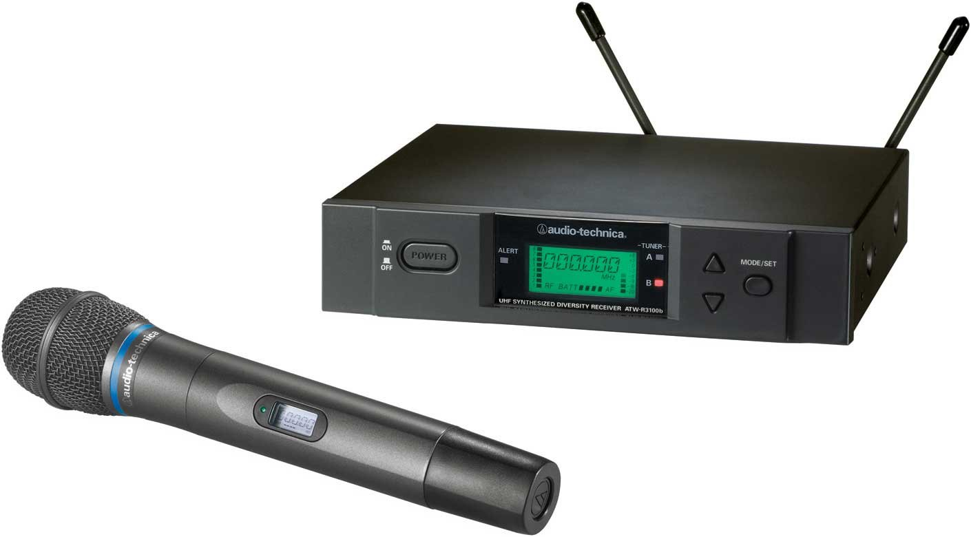 Wireless UHF Handheld Microphone System with ATW-T371b Handheld Cardioid Condenser Microphone/Transmitter, Frequency-Agile, True Diversity, TV16-20