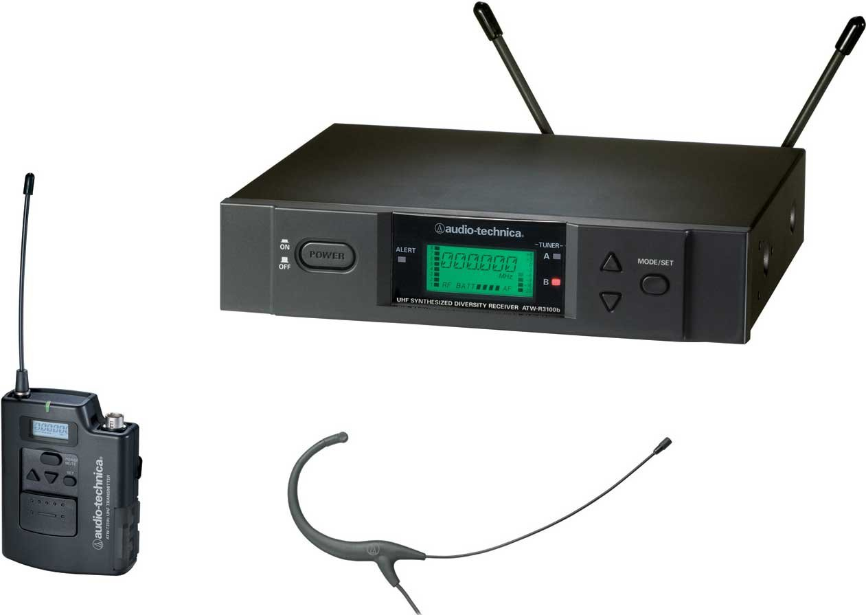 Wireless UHF Bodypack Microphone System with MicroSet Omnidirectional Condenser Headworn Microphone (Black), Frequency-Agile, True Diversity, TV16-20