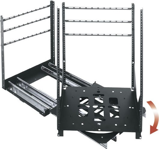 "25 RU 23"" D Rotating Rack with Sliding Rail System"