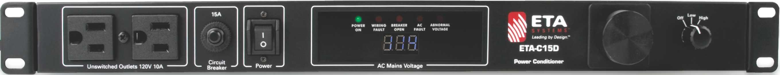 Power Conditioner, 10 Outlets (8 Rear, 2 Front), 15A, Digital Voltmeter