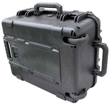 Molded Case, 19 x 14 x 8, Wheels, Pull Handle, Cubed Foam