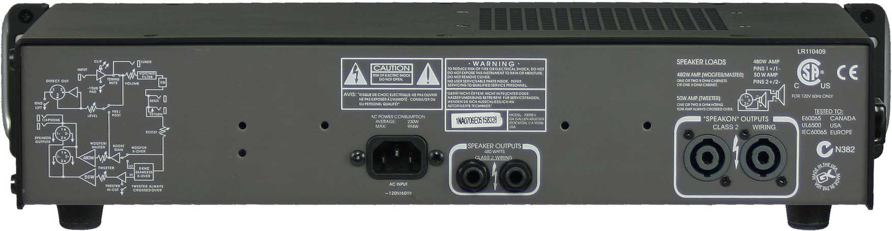gallien krueger 700rb ii 480w bass amplifier head with 50w horn bi amp system full compass. Black Bedroom Furniture Sets. Home Design Ideas