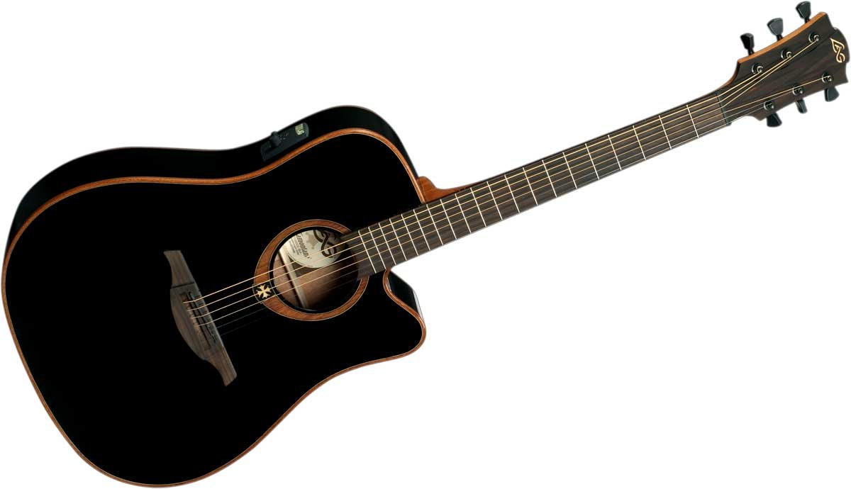 Acoustic/Electric Guitar with Dreadnought Cutaway, Solid Red Cedar Top, Dark Mahogany Back & Sides, and Black Gloss Finish