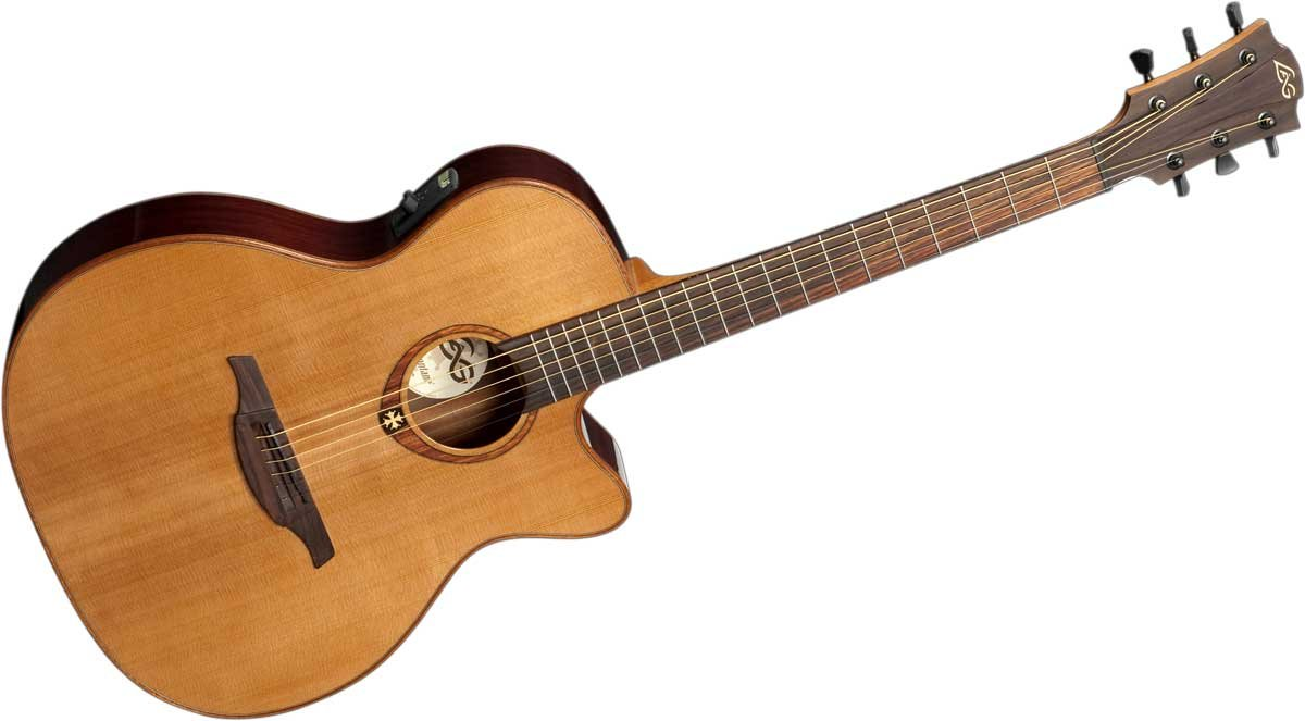 Acoustic/Electric Guitar with Auditorium Cutaway, Solid Red Cedar Top, Dark Mahogany Back & Sides, and Gloss Finish