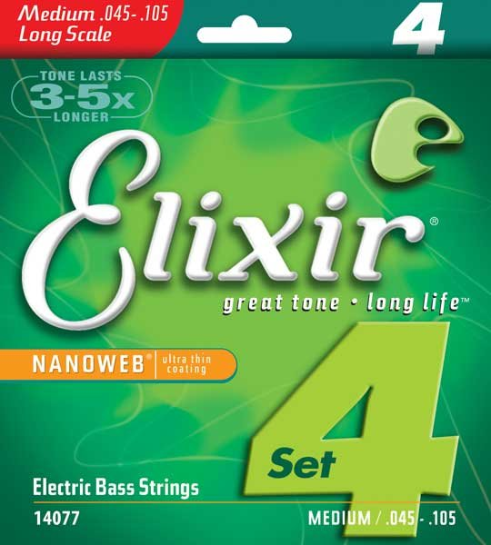 Medium Long Scale Electric Bass Strings with NANOWEB Coating