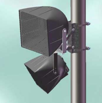 Pole Mount Bracket for One or Two Speakers with Vertical Downtilt and Left-to-Right Panning