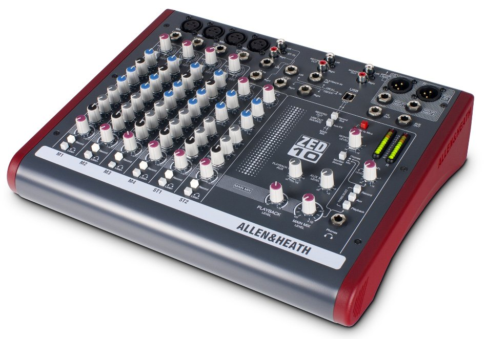 Allen & Heath ZED-10 10-Channel Compact Mixer with USB Interface and 4 XLR Inputs ZED-10