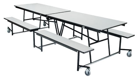 Table, Partical Board Top with Fixed Benches, 8ft